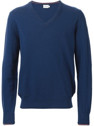 Moncler V Neck Sweater Blue