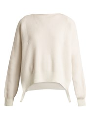 Helmut Lang Side Loop Cotton Wool And Cashmere Blend Sweater Ivory