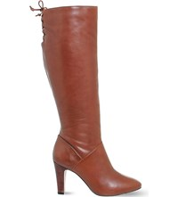 Office Knicks Block Heel Knee High Boots Brown Leather