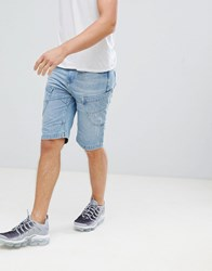 Crosshatch Light Wash Panelled Denim Shorts Light Wash Blue