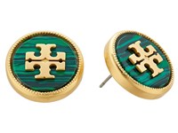 Tory Burch Semi Precious Stud Earrings Malachite Vintage Gold Earring Green