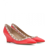 Valentino Rockstud Patent Leather Wedges Deep Orange Poudre