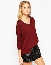 Asos Jumper With V Neck And Side Splits In Structured Knit