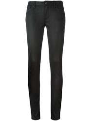 Burberry Skinny Fit Low Rise Wax Coated Jeans Black