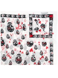 Alexander Mcqueen Skull And Heart Print Scarf White