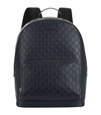 Gucci Logo Leather Backpack Unisex Navy
