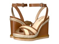 Nine West Vaughn Dark Natural Light Natural Leather Women's Wedge Shoes Brown