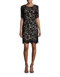 Chetta B Short Sleeve Lace Sheath Dress Black Blush