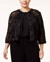 R And M Richards Plus Size Glitter Rosette Illusion Shrug Black
