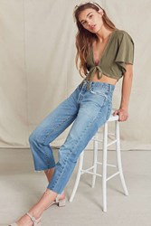 Urban Renewal Recycled Frayed Cropped Levi's Jean Indigo