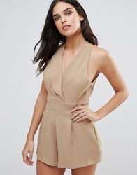 Love Halterneck Playsuit With Pleated Bust Camel Beige