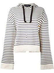 Filles A Papa Striped Open Back Hoodie Nude Neutrals