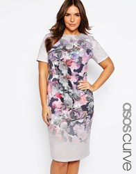 Asos Curve Bodycon Midi Dress In Placed Ombre Floral Print Print Multi