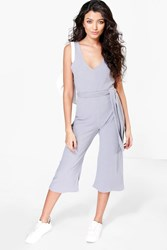 Boohoo Ribbed Culotte Self Belt Jumpsuit Silver
