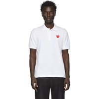 Comme Des Garcons Play White Heart Patch Polo