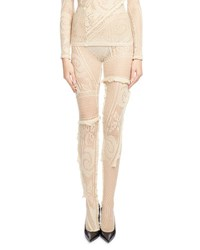 Balenciaga Crocheted Lace Tights Ecru