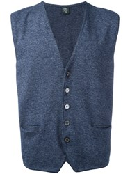 Eleventy Sleeveless Cardigan Blue