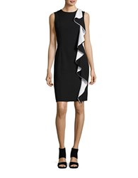 Karl Lagerfeld Ruffle Trimmed Sheath Dress Black Ivory