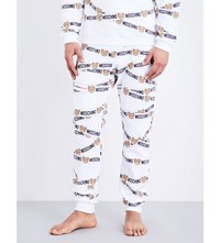 Moschino Tape Teddy Cotton Jogging Bottoms White