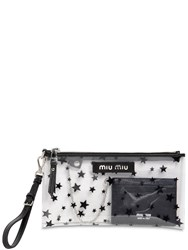 Miu Miu Mini Star Printed Plexi Clutch Black
