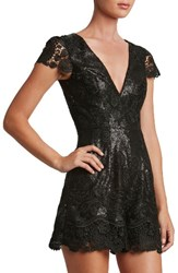 Dress The Population Women's Sabrina Embroidered Sequin Romper
