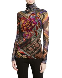 Fuzzi Floral Embroidered Tulle Turtleneck Top Nero
