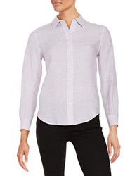 Lord And Taylor Petite Linen Blouse Orchid Hush