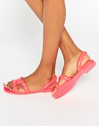 Melissa And Jeremy Scott Tube Coral Pop Flat Sandals Coral Pop Pink