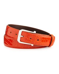 W.Kleinberg Glazed Alligator Belt With 'The Paisley' Buckle Orange Made To Order