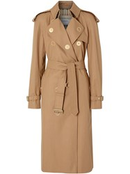 Burberry Press Stud Detail Cotton Gabardine Trench Coat Brown