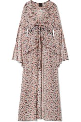 Anna Sui Scattered Flowers Ruffled Floral Print Silk Chiffon Robe Pink Gbp
