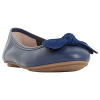 Dune Wide Fit Hypnotise Bow Ballet Pumps Navy Leather