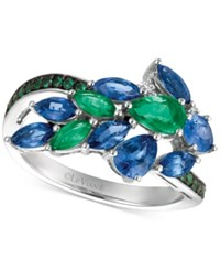 Le Vian Precious Collection Sapphire 1 1 2 Ct. T.W. Emerald 2 3 Ct. T.W. And Diamond Accent Statement Ring In 14K White Gold