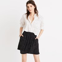 Madewell Silk Faux Wrap Skirt In Dot Scatter