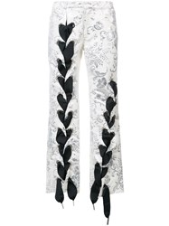 Marques Almeida Marques'almeida Cross Stitched Trousers Women Cotton Polyamide Polyester 0 White