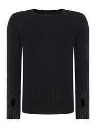 Replay Men's Knitted Cotton Crewneck Jumper Black