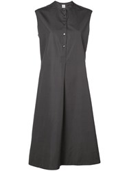 Aspesi Band Collar Shirt Dress Grey