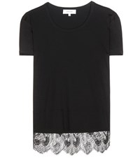 Carven Lace Trimmed T Shirt Black