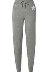 Bella Freud Billie Striped Cashmere Blend Track Pants Gray