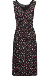 Nina Ricci Ruched Floral Print Silk And Silk Chiffon Dress Multi