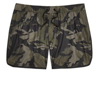 River Island Mens Dark Green Camo Print Swim Shorts