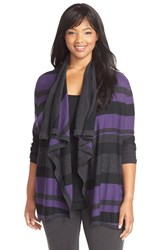 Plus Size Women's Sejour Merino Blend Drape Front Cardigan Black Purple Stripe