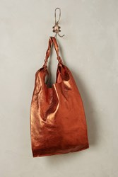 Anthropologie Reversible Pleated Leather Tote Terra Cotta