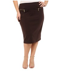 Michael Michael Kors Plus Size Zip Ponte Long Pencil Skirt Chocolate Women's Skirt Brown