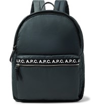A.P.C. Logo Print Nylon Backpack Gray