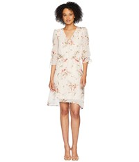 B Collection By Bobeau Ember Rouch Sleeve Dress Botanical Print Multi