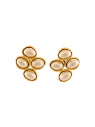 Chanel Vintage Pearl Cluster Clip On Earrings White