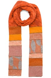 Junya Watanabe Checkered Link Scarf In Orange Blue