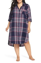 Make Model Plus Size Long Flannel Nightshirt Navy Dusk Taylor Plaid