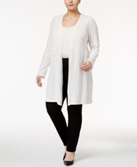 Alfani Plus Size Open Front Knit Cardigan Only At Macy's Soft White